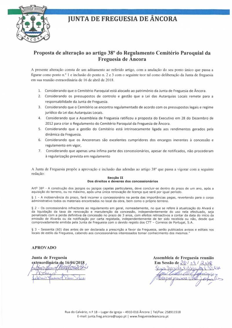 Proposta de Alteração ao Artigo 38.º do Regulamento Cemitério Paroquial da Freguesia de Âncora