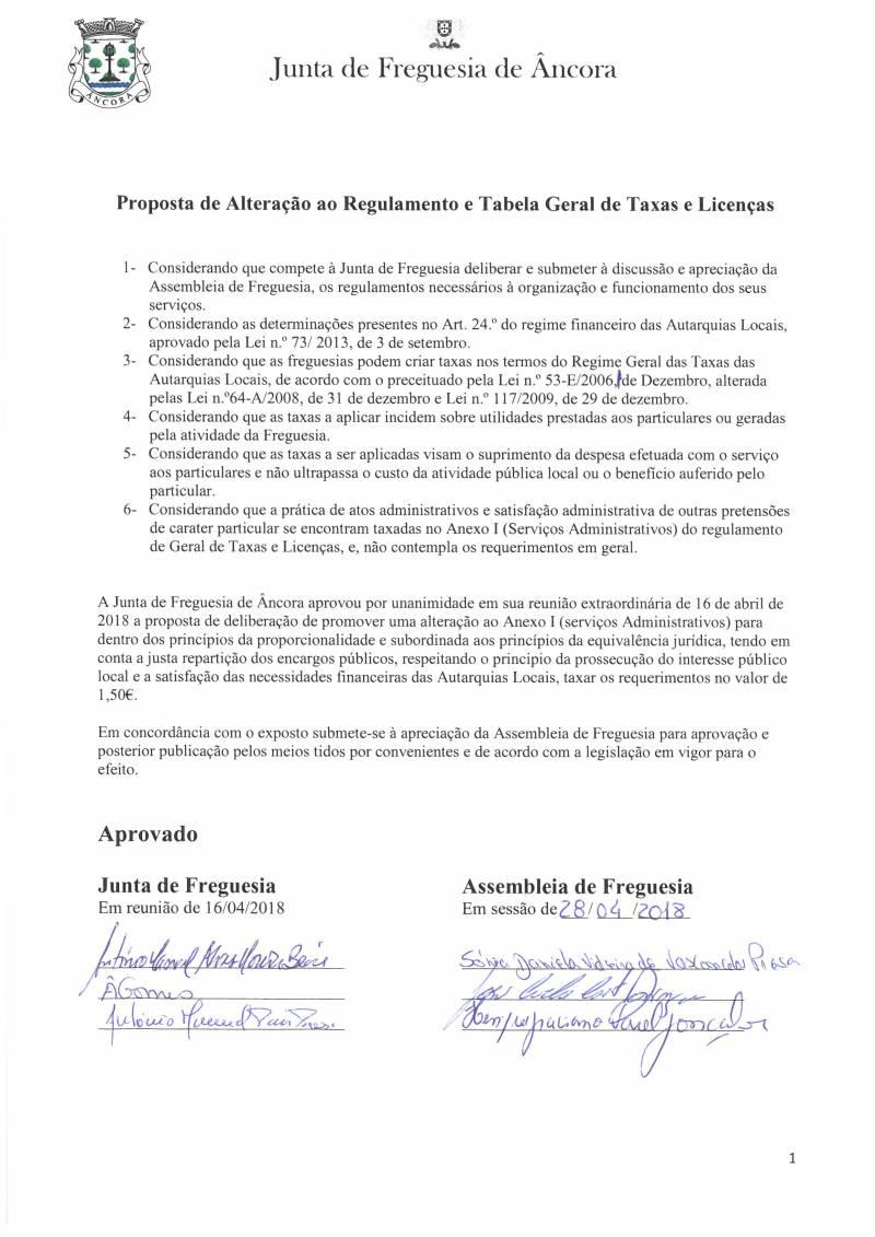 Proposta de Alteração ao Regulamento e Tabela Geral de Taxas e Licenças