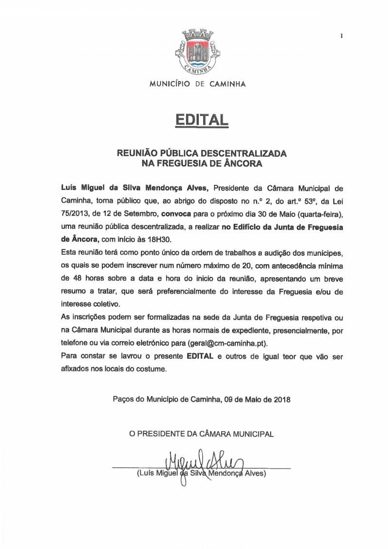Reunião Descentralizada na Junta de Freguesia de Âncora